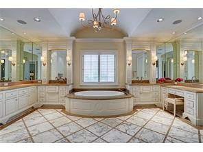 Opulent master bath with large walk-in shower, spa tub,  and double vanities.  Barrel vaulted ceiling.