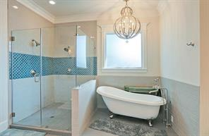 MASTER BATHROOM - Georgious master bath fit for royalty. Clawfoot tub, two head shower. Complete with his and her sinks!