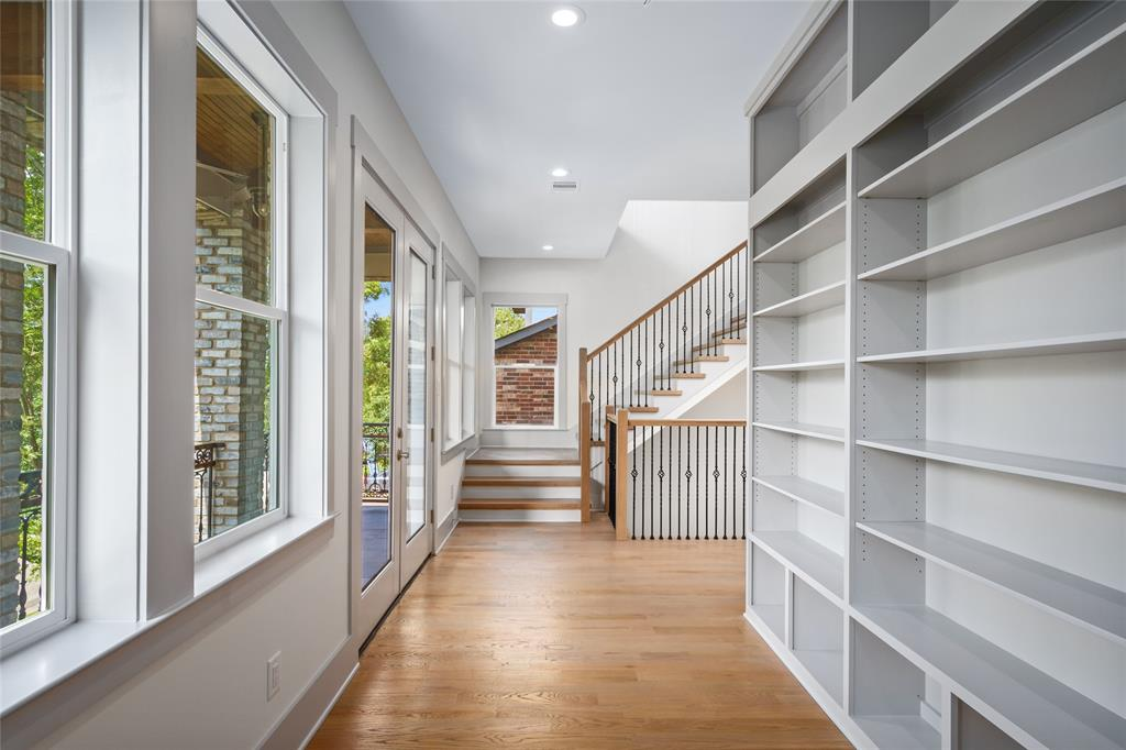 Floor to ceiling bookcase with adjustable shelves.  Sit outside with a good book and enjoy the breeze among the treetops.