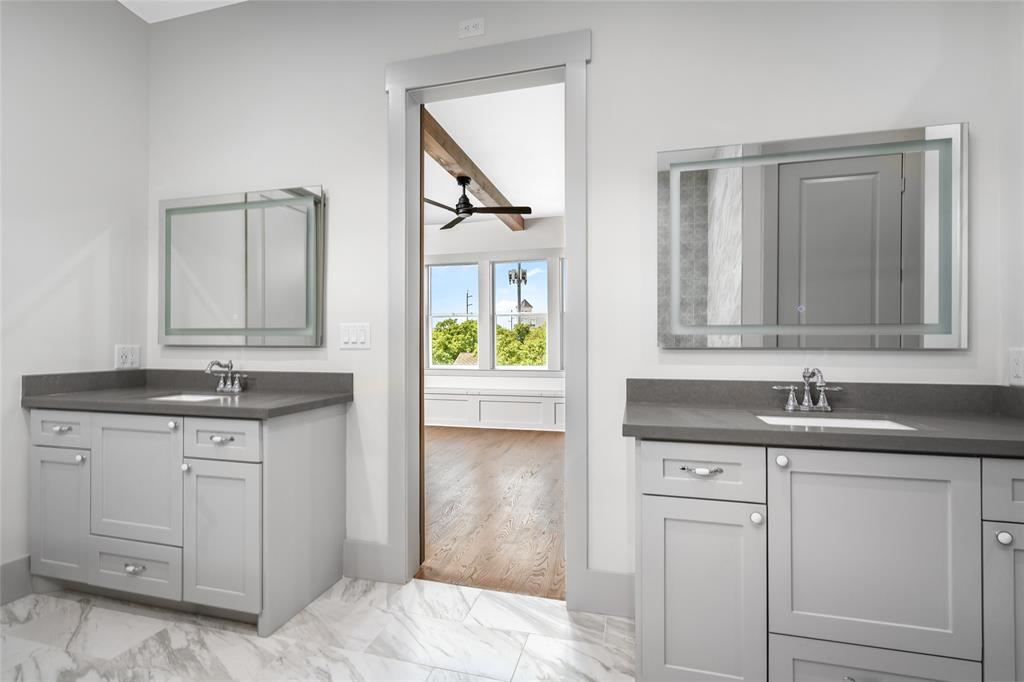 Completely separate double vanities provide for ample space for partners to get ready for the day or prep for a night out.