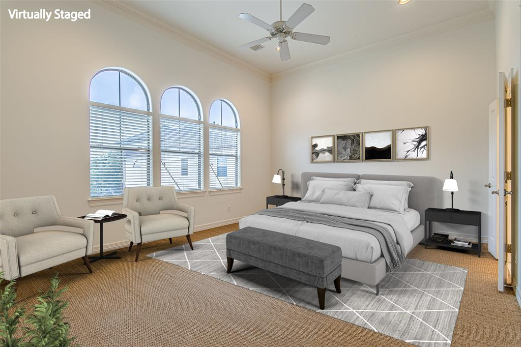 Virtually staged master suite.