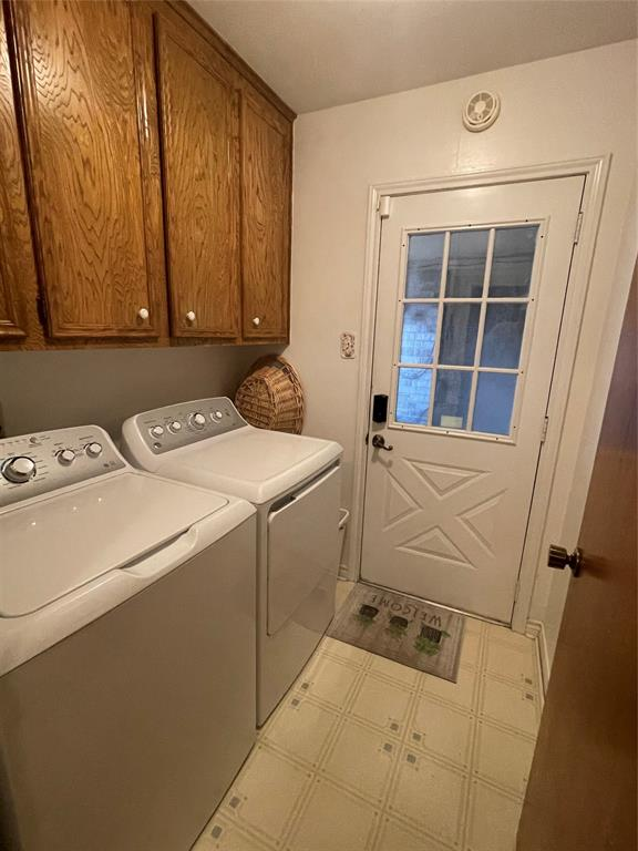 Utility room is off kitchen area and back    door leads to covered double garage.  The washer and dryer stay with home
