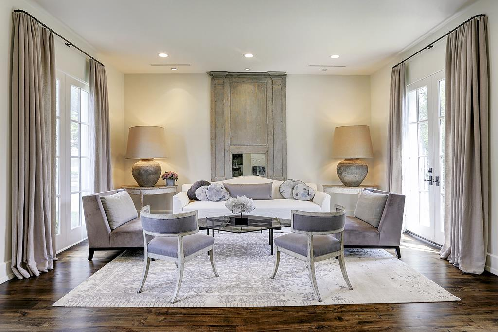 Stunning and sophisticated French inspired living room with lavender accents - M Naeve