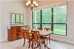 The breakfast room overlooks your private backyard