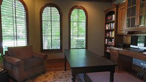 Speaking of the office/study/den, it also features built-ins and plantation shutters.  The view out the windows it to the front lawn.