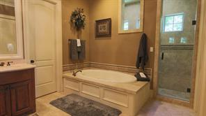 Jetted tub and massive walk-in shower that extends behind that wall the full length of the tub.