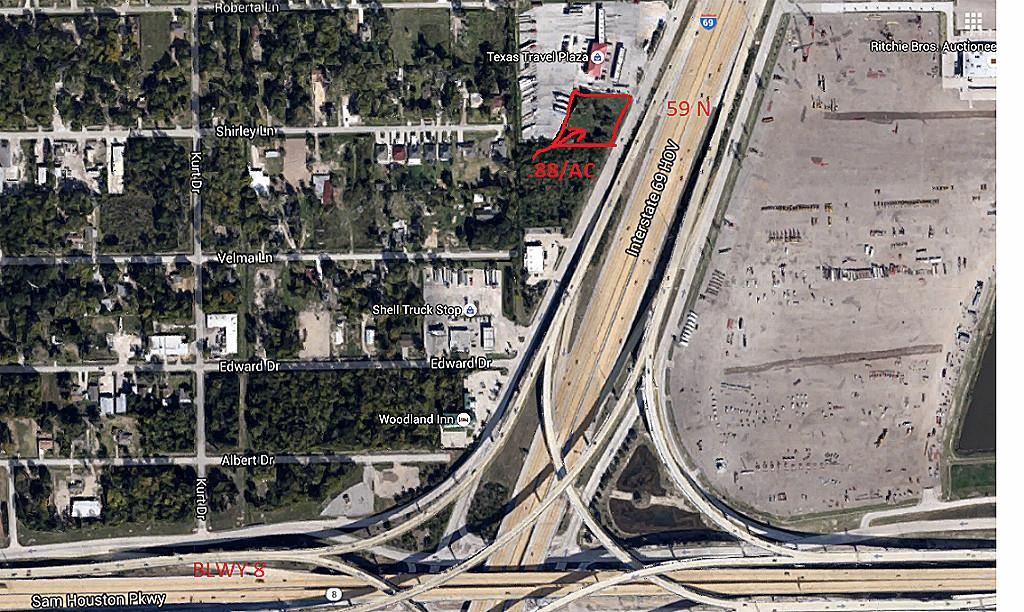 170 feet frontage on freeway. Commercial Land on HWY 59 N.& Beltway 8; Great site for Small Motel or Single Standing Commercial building.High Visibility /Frontage 59 N and BLWY 8