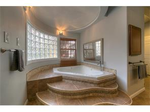 Master whirlpool with mood lighting and glass block window.