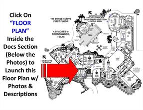 """Access Drawing By Opening the DOC s Section Beneath the Photo Display. Click On """"Floor Plan"""". When The PDF File Opens, Clicking the Blue Arrows Launch the Photos Out of the Drawing. Hold Down CTRL Key And Roll Mouse Wheel to Enlarge View"""
