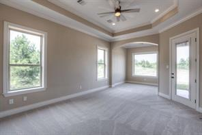 Master suite has fantastic space for a sitting area and large furniture.Ceiling fans, exterior door to porch and tray ceilings are seen here.