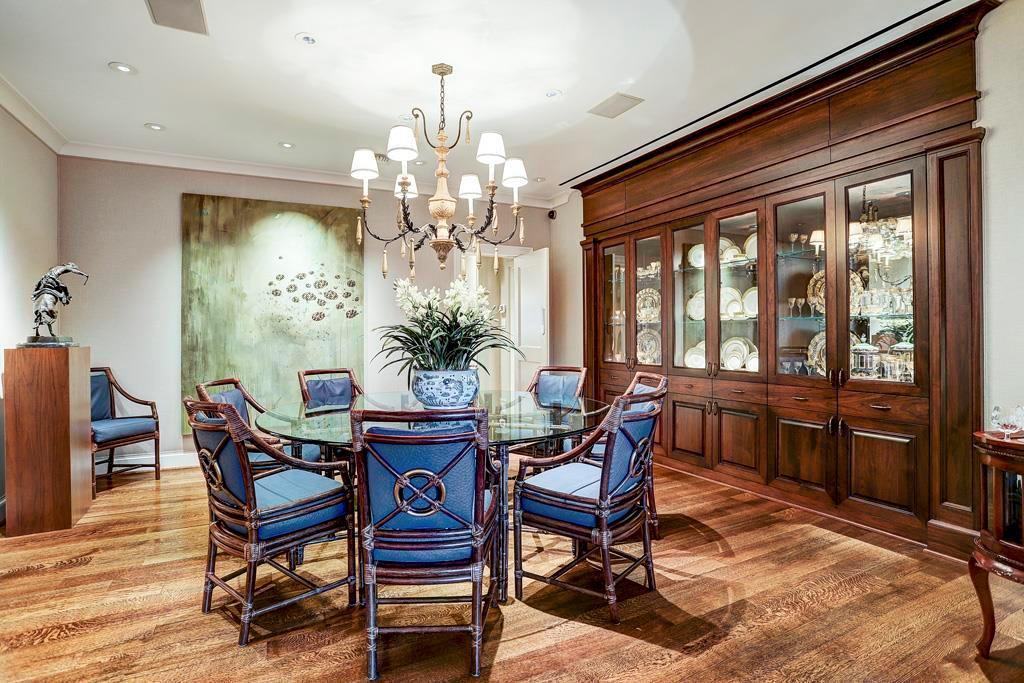 Dining Room - 16  x 16 : Custom 10  wide recessed and built-in mahogany china cabinet display case: upper level glass-faced cabinets with interior lighting and adjustable glass shelves; lined drawers and cabinet storage below; Recessed art lighting