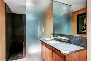 Pool Bath: Under-mounted Villeroy and Boch rectangular basin with custom fixtures set into marble-topped wall-mounted console with cabinet storage below; etched glass wall creates privacy alcove for Toto toilet; walk-in oversized shower