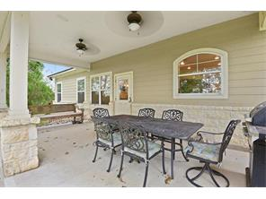 Back covered patio with views of the peaceful vacant land behind.  Partially fenced area to allow the family pet to enjoy the outdoors too.  Bring your wrought iron patio furniture to match the hill country feel to this home.