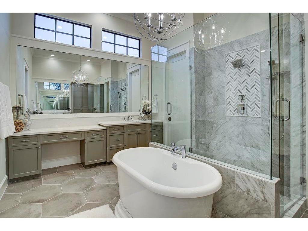 Master Bath With White Cabinets And Vanity Seat White Bathroom Cabinets Master Bathroom Vanity Bathrooms Remodel