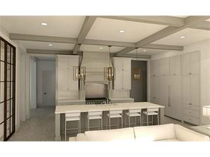 Rendering of the island kitchen that is open to the family room.
