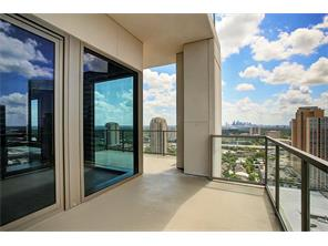 Unit 2402 offers 700 ft. corner terraces with panoramic view of the Galleria skyline and wooded Tanglewood and Memorial Park.