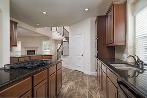 The kitchen includes Moen fixtures, under mount stainless steel sink, and is open to family room.