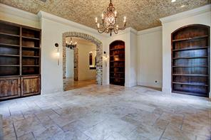 Additional view of the formal living room. Note the hand-stenciled ceiling by Segretto and built-in bookcases. - 19x16