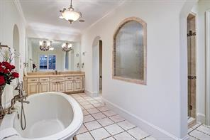 Luxurious master bath has dual custom built closets with glass encased wardrobes and built-ins, dual vanities, whirlpool tub and over sized shower.