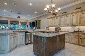 Everyone will gather in this Cook s Gourmet Kitchen with a ton of cabinets, stainless appliances, including a new stainless ice maker and dishwasher. Notice all the recessed ceiling lights, as well as the beautiful hanging island chandelier.