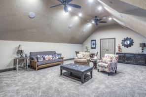 Game room, located over garage, is big enough for most table games. The room could be used as 5th bedroom, several big closets, or media room. Great space to have a workout room too!
