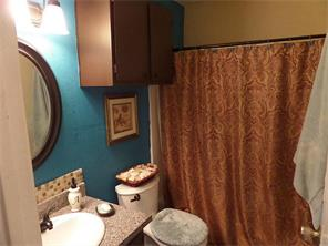 Master bath with new mirror, granite, faucet, toilet, and light fixture.
