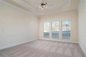 Master bedroom has beautiful 11 foot tray ceilings with crown molding and great view of backyard.