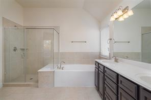 Master bath with a large tub, double vanity and glass showers.
