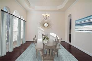Staged photo to help you imagine your own furniture in this formal dining room.