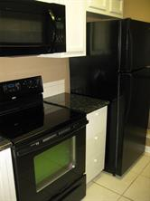 Refrigerator stays, Built-In Microwave and granite counter tops.