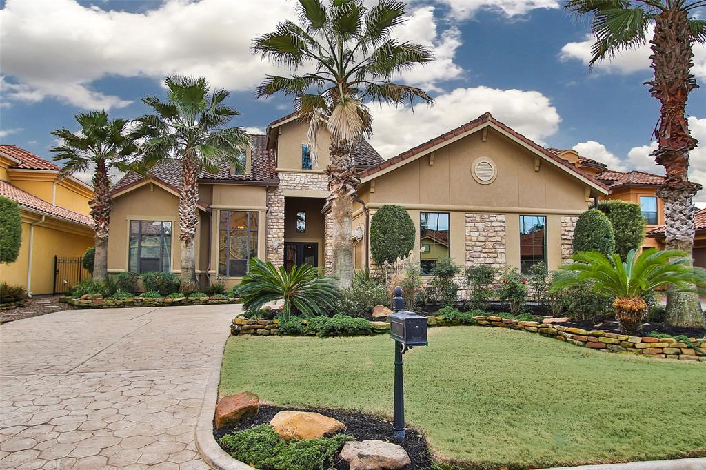 "Enjoy maintenance free living in an exclusive gated community of Villa Verde in Northgate Forest Golf Course & Country Club. An exclusive stucco & stone home w/tiled roof & incredible golf course & water views. Professionally decorated & landscaped in beautiful detail & design. Custom window treatments, beautiful ceiling detail, travertine, hardwoods & gorgeous upgraded lighting fixtures. French doors lead to small private patio off the dining room. Enjoy 3 ""living"" areas. Exquisite living room, open concept & wonderful views. Relax & enjoy watching your favorite team in the downstairs wine room & full bar. Upstairs is a loft area w/bookcases & desk, a game room & walk-in bar+ a Media room or Exercise room. Outdoor living has covered patio & summer kitchen or step out on the balcony above overlooking the fairway & lake. Mosquito mist system adds to your enjoyment. There always seems to be a cool breeze up there. This beautiful home stands out among the rest! Come see for yourself!"