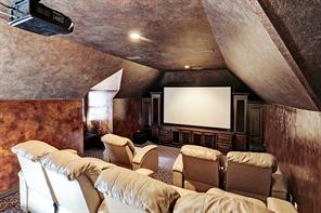 Fabulous movie theater room above 3 car garage with en suite full bath.  This room could also be the sixth bedroom, quarters, garage apartment, in-law suite, etc.  A third staircase leads you to the theater room.