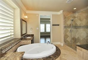 Stunning Master Bath Retreat with Garden Jacuzzi Tub and Oversize Separate Shower.