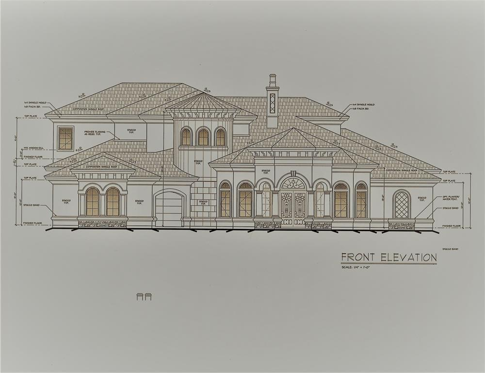 Stone and stucco Mediterranean home by Bella Terra Custom Homes featuring:   both formal living and dining rooms, study, master and guest room down, three bedrooms and baths upstairs, game room and media room up, Balcony overlooking greenbelt.  This home can be completed quickly.