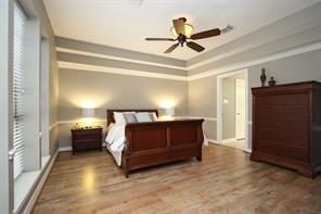 Luxurious and spacious master bedroom with trey ceiling.