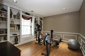Study, home office or exercise room with built-ins.