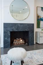 Family Room: Soapstone fireplace with gas logs