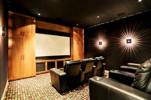 The media room has custom wood built-ins, projection equipment, theatre style seating and perfect for enjoying your favorite movies!!!
