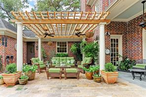 Attractive outdoor seating area in the backyard patio area.