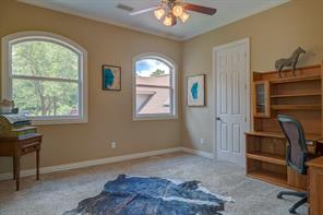Rich neutral colors and arched windows give you the perfect backdrop for decorating this spacious bedroom