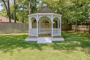 Your own gazebo.  You can enjoy it into the evening and in the hot dog days of summer.  It is equipped with ceiling fan and electricity.