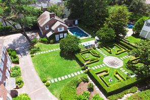 Looking down to the western grounds at 3407 Inwood. The pool area opens into one of several formal gardens on the grounds.
