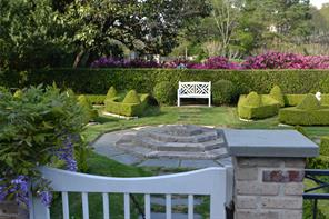 Formal gardens off of the pool area.