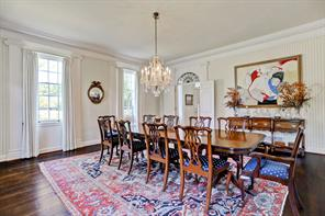 The formal dining room looking towards the formal entry.