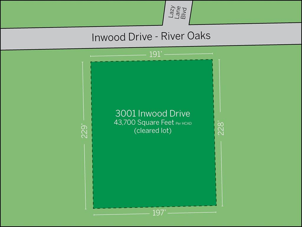 River Oaks Lot Rendering located at 3001 Inwood Drive.  The lot located at the intersection of Lazy Lane Blvd and Inwood Drive has been cleared and is ready for your custom home.
