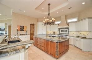 Gourmet Kitchen -Granite countertops with intricate edge designs Oversized 5 x 9 Granite Island with Thermador Dishwasher and Koehler sink Separate Coffee Bar Area Separate Bakers Counter by Pantry Built-in Kitchen-Aid Microwave Thermador double ovens and warming drawer.
