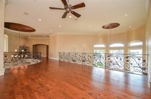 Game Room with beautiful hardwood flooring surrounded by award winning ironwork. Open to downstairs area and has lake views. Extra wide hallways with niches off of Game Room lead to bedrooms #4 and #5.