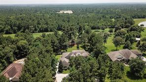 Aerial view above the house and showing the ranch behind. Note the treehouse can be seen here, too.
