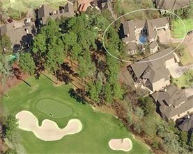 Aerial shot of the #7 Miller green showing the space and privacy this home in relationship to the golf course itself. The home itself wraps around the entire perimeter of the pool making it completely private.
