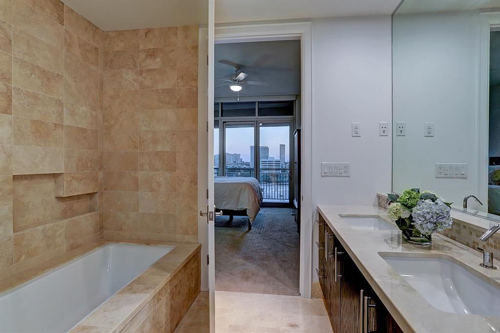 Master bathroom also features generously sized tub for an at home spa feel!